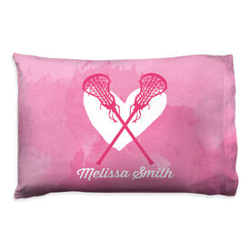 Girls Lacrosse Pillowcase - Watercolor Heart