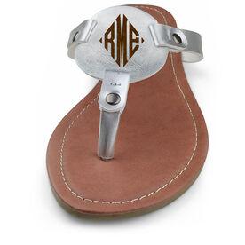Personalized Engraved Thong Sandal Diamond Monogram