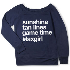 Girls Lacrosse Fleece Wide Neck Sweatshirt - Sunshine Tan Lines Game Time