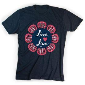 Girls Lacrosse T-Shirt Short Sleeve Live Love Lax Flower