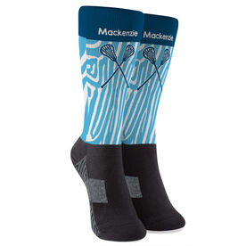 Girls Lacrosse Printed Mid-Calf Socks - Personalized Zebra Pattern with Lacrosse Sticks