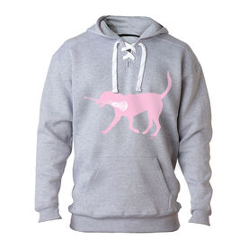 Girls Lacrosse Sport Lace Sweatshirt LuLa the Lax Dog (Pink)