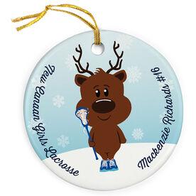 Girls Lacrosse Porcelain Ornament Reindeer Laxer
