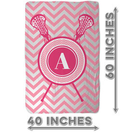 Girls Lacrosse Sherpa Fleece Blanket - Single Letter Monogram with Crossed Sticks and Chevron