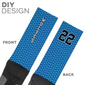 Printed Mid-Calf Socks - Chevron Team