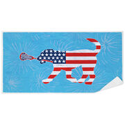 Girls Lacrosse Premium Beach Towel - Patriotic LuLa the Lax Dog