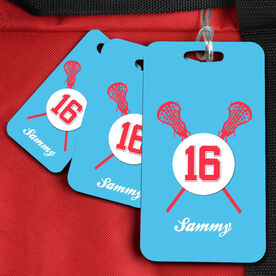 Lacrosse Bag/Luggage Tag Personalized Crossed Lacrosse Sticks