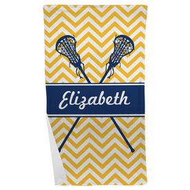 Girls Lacrosse Beach Towel Personalized Girls Lacrosse Sticks Chevron