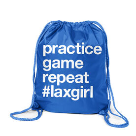 Girls Lacrosse Sport Pack Cinch Sack - Practice Game Repeat