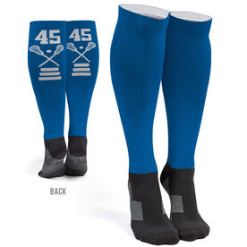 Girls Lacrosse Printed Knee-High Socks - Lacrosse Stick Team Number