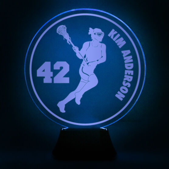 Girls Lacrosse Acrylic LED Lamp Lax Girl With Name and Number