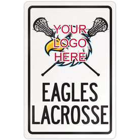 "Lacrosse 18"" X 12"" Aluminum Room Sign Custom Girls Lacrosse Logo with Team Name"