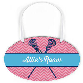 Girls Lacrosse Oval Sign - Personalized Girl Lacrosse Sticks Chevron