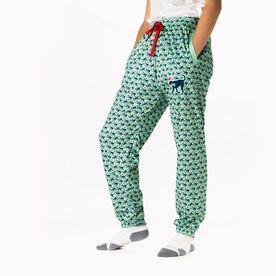 Girls Lacrosse Lounge Pants - Santa Lulu The Lax Dog