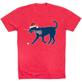 Girls Lacrosse T-Shirt Short Sleeve Christmas Dog