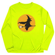 Girls Lacrosse Long Sleeve Performance Tee - Witch Riding Lacrosse Stick