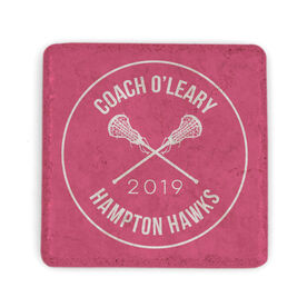 Girls Lacrosse Stone Coaster - Personalized Coach with Crossed Girl Sticks