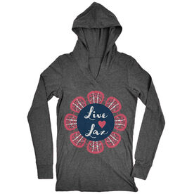 Girls Lacrosse Lightweight Performance Hoodie Live Love Lax Flower
