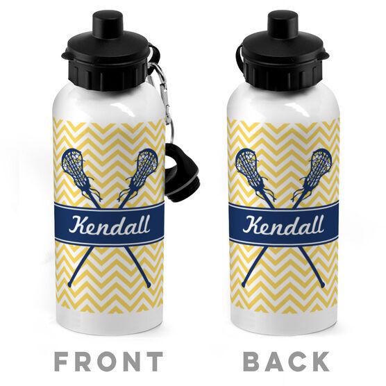 Girls Lacrosse 20 oz. Stainless Steel Water Bottle - Personalized Girl Lacrosse Sticks Chevron