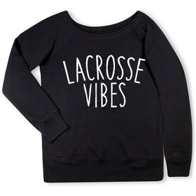 Girls Lacrosse Fleece Wide Neck Sweatshirt - Lacrosse Vibes