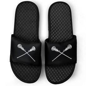 Girls Lacrosse Black Slide Sandals - Crossed Sticks