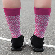 Girls Lacrosse Printed Mid-Calf Socks - Personalized Lacrosse Dog Quatrefoil Pattern