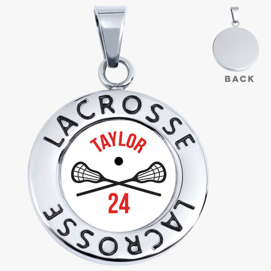Lacrosse Circle Necklace - Crossed Sticks With Name And Number