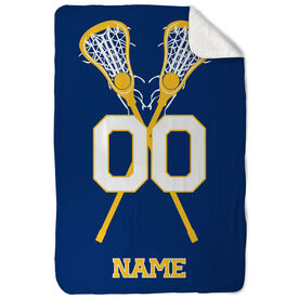 Girls Lacrosse Sherpa Fleece Blanket - Personalized Player with Crossed Sticks