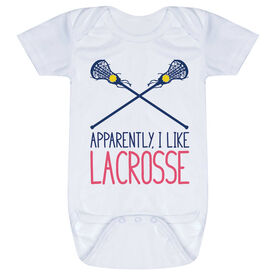 Girls Lacrosse Baby One-Piece - Apparently, I Like Lacrosse