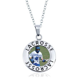 Lacrosse Circle Necklace - Custom Photo