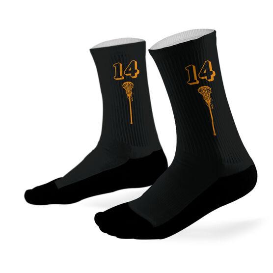 Lacrosse Printed Mid Calf Socks Lacrosse Stick Team Colors