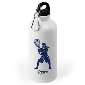 Girls Lacrosse 20 oz. Stainless Steel Water Bottle - Lacrosse Goalie Silhouette