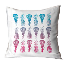 Girls Lacrosse Throw Pillow Lax Pineapples Gradient