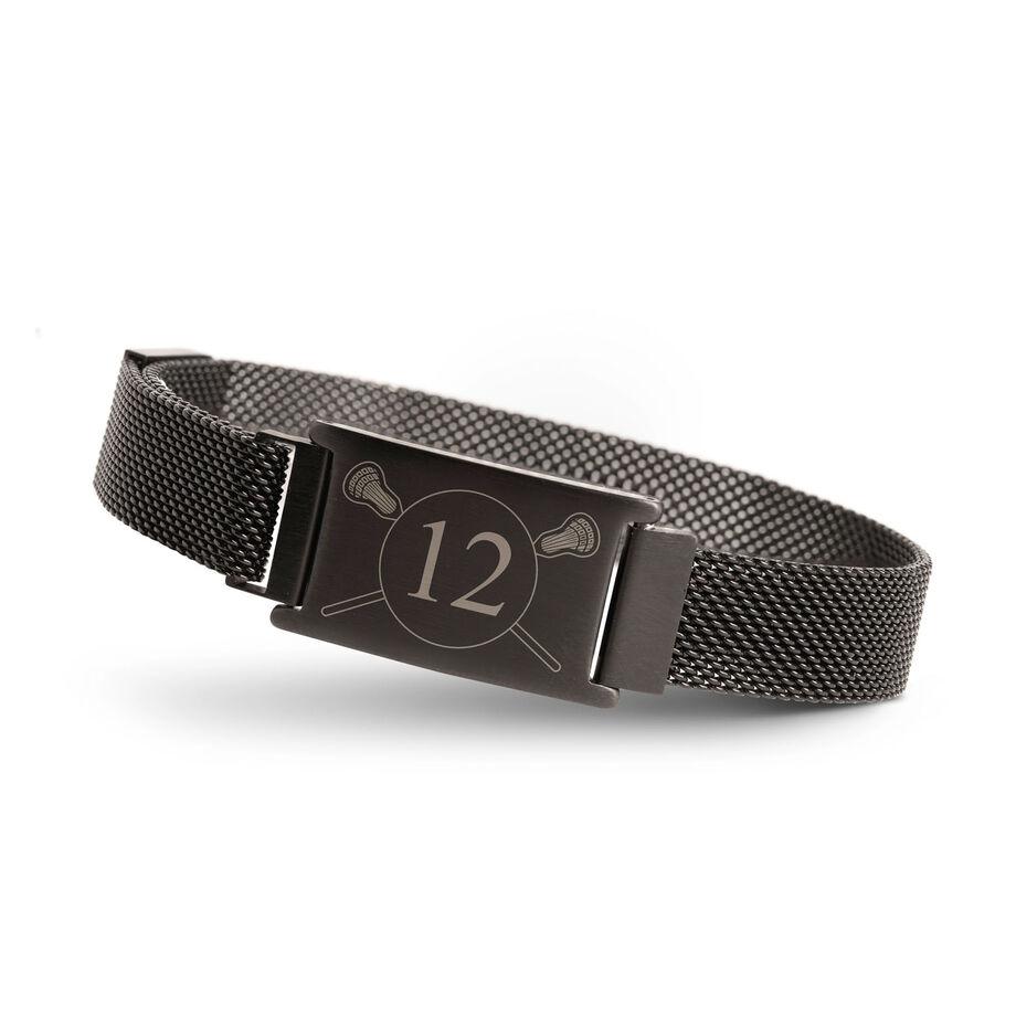 Lacrosse Adjustable Stainless Steel Magnetic Bracelet - Custom Number
