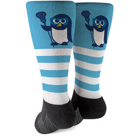 Girls Lacrosse Printed Mid-Calf Socks - Lax Penguin