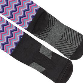 Girls Lacrosse Printed Knee-High Socks - Monogram with Chevron