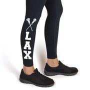 Girls Lacrosse Leggings - Lax with Crossed Sticks