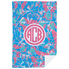 Girls Lacrosse Premium Blanket - Island Flower Monogram