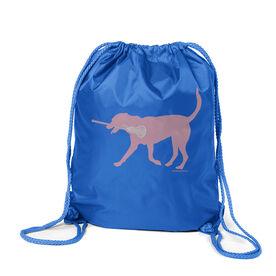 Girls Lacrosse Sport Pack Cinch Sack LuLa the Lax Dog(Pink)