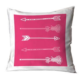 Girls Lacrosse Throw Pillow Lacrosse Arrows