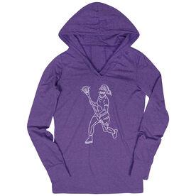 Girls Lacrosse Lightweight Performance Hoodie - Girls Lacrosse Player Sketch