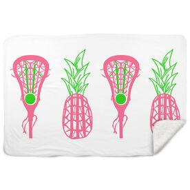 Girls Lacrosse Sherpa Fleece Blanket Lax Pineapple