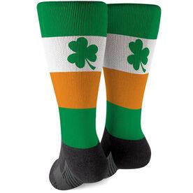 Printed Mid-Calf Socks - Shamrock with Stripes