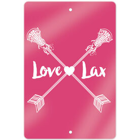"Girls Lacrosse 18"" X 12"" Aluminum Room Sign Love Lax Crossed Arrows"
