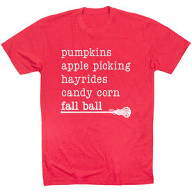 Girls Lacrosse Short Sleeve T-Shirt - Favorite Fall Things