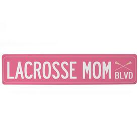 "Girls Lacrosse Aluminum Room Sign - Lacrosse Mom Blvd (4""x18"")"