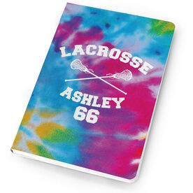 Girls Lacrosse Notebook Tie Dye Pattern with Lacrosse Sticks