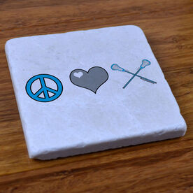 Peace Love Lacrosse (stick) - Natural Stone Coaster