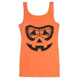 Girls Lacrosse Women's Athletic Tank Top - Lacrosse Goggle Pumpkin Face