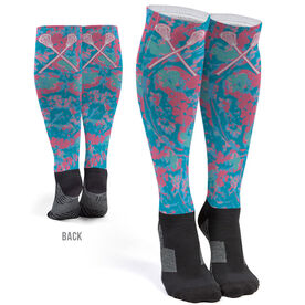 Girls Lacrosse Printed Knee-High Socks - Island Flower